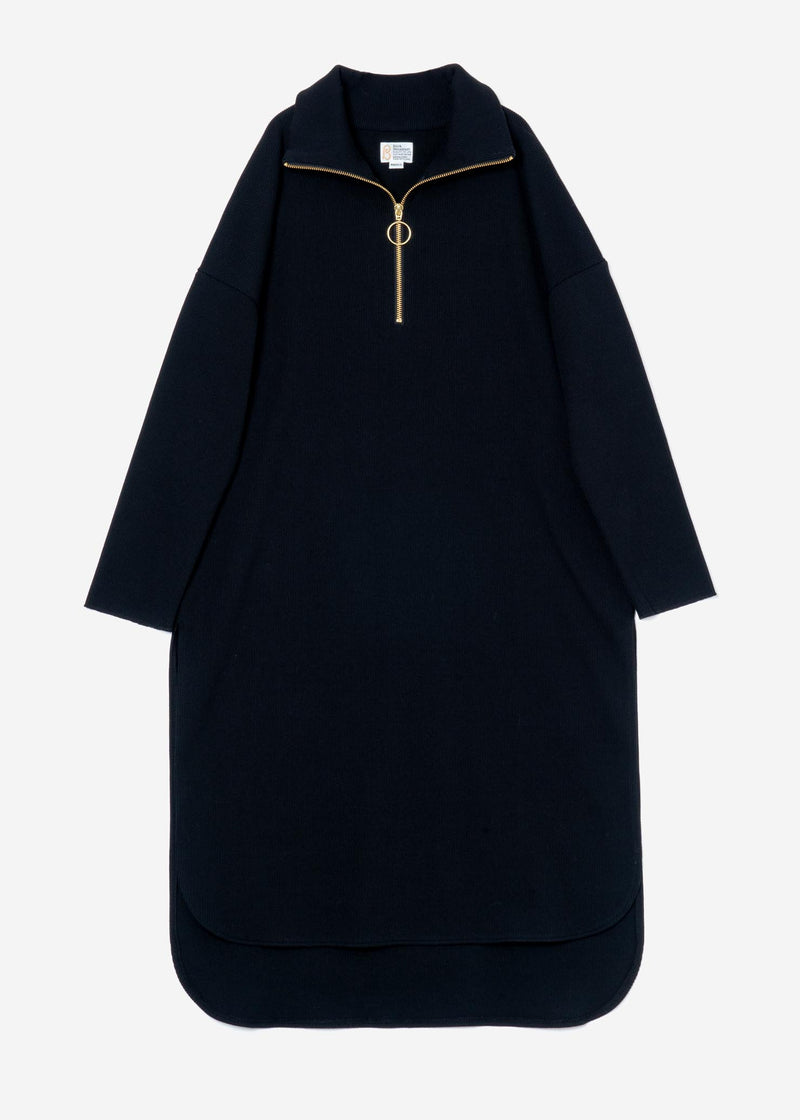 Melange Zip Up Dress in Black