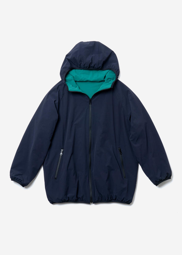 Nylon Reversible Quilted Liner Hoodie in Navy
