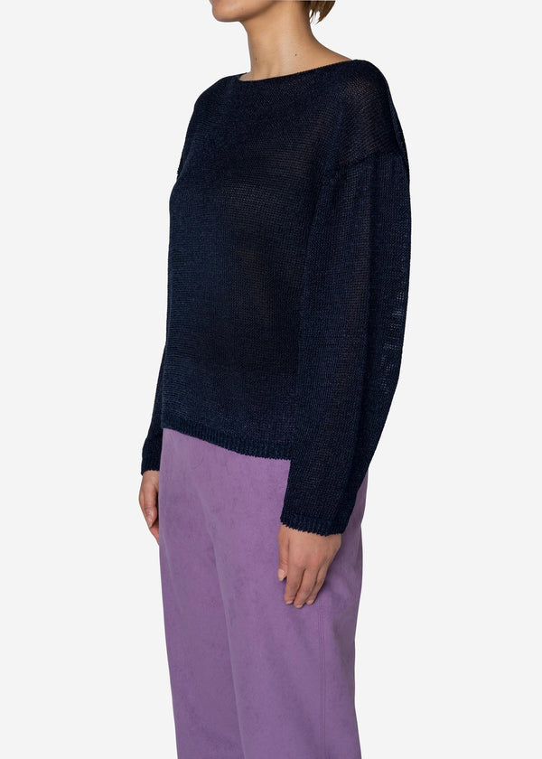 Rope Lily Yarn Long sleeve Sweater in Navy