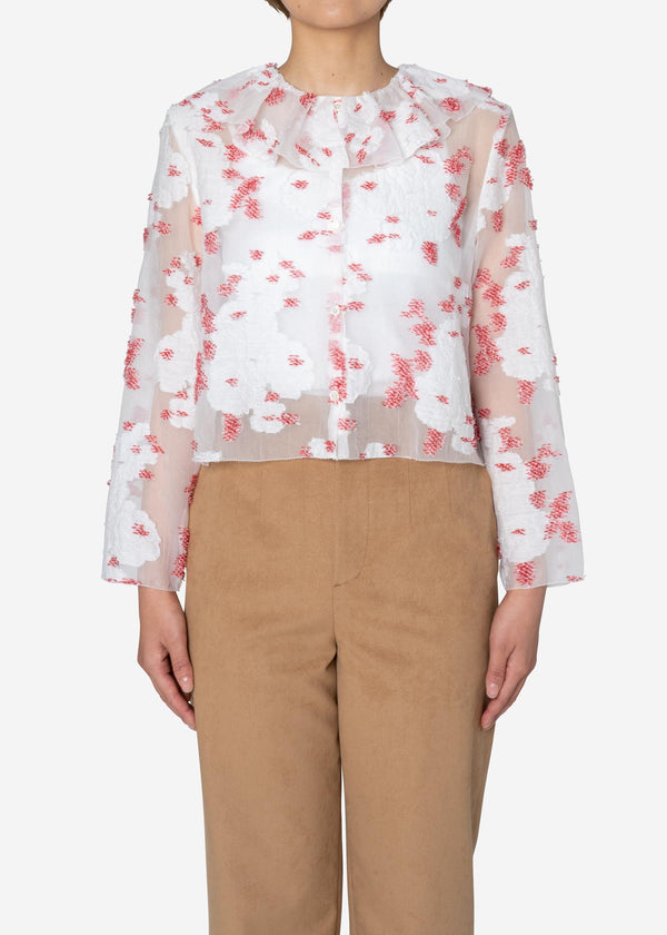 Peony Jacquard Frill Blouse in White