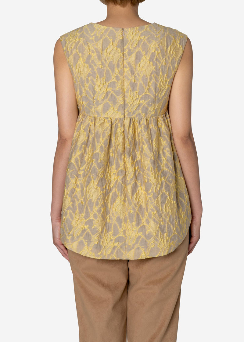Splash Jacquard Sleeveless Blouse in Beige