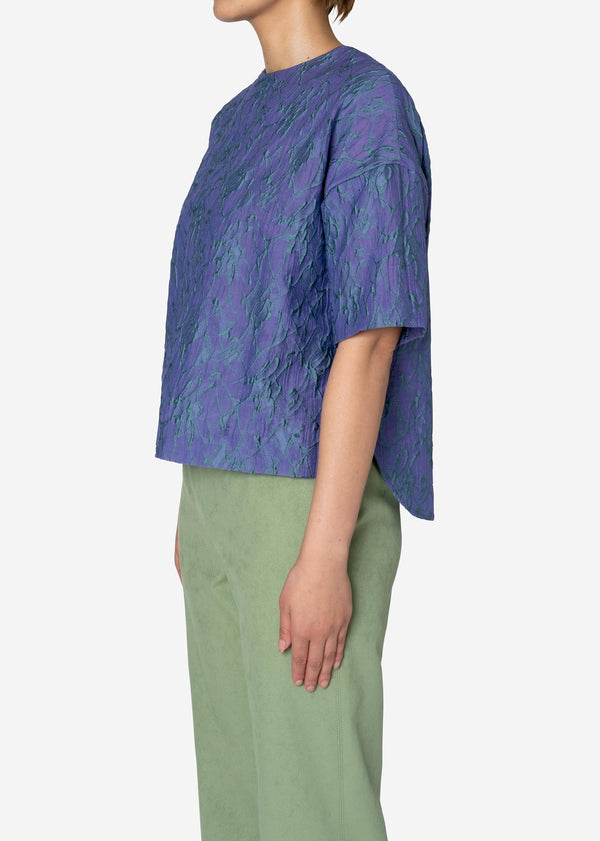 Splash Jacquard Half Sleeve Big Blouse in Light Purple
