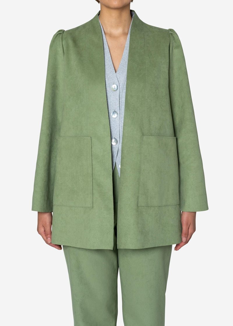 Soft Suede Jacket in Light Green