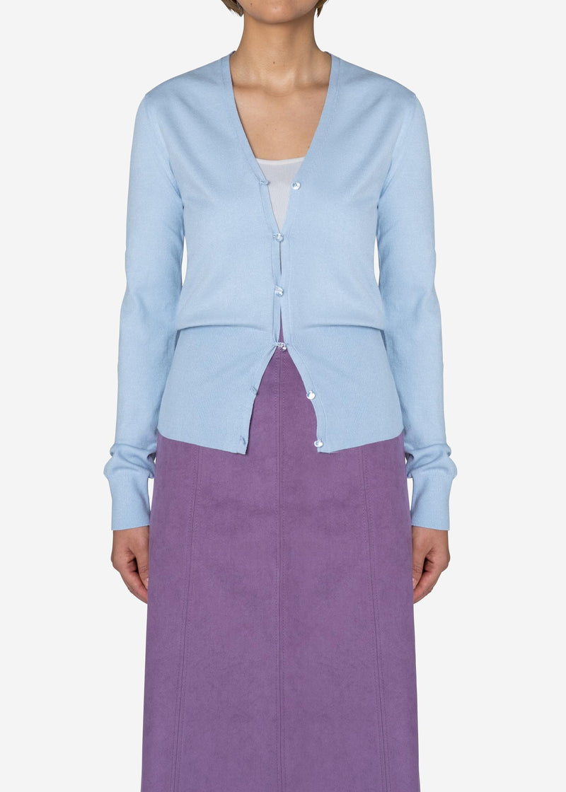 Dream Stretch Knit Cardigan in Light Blue