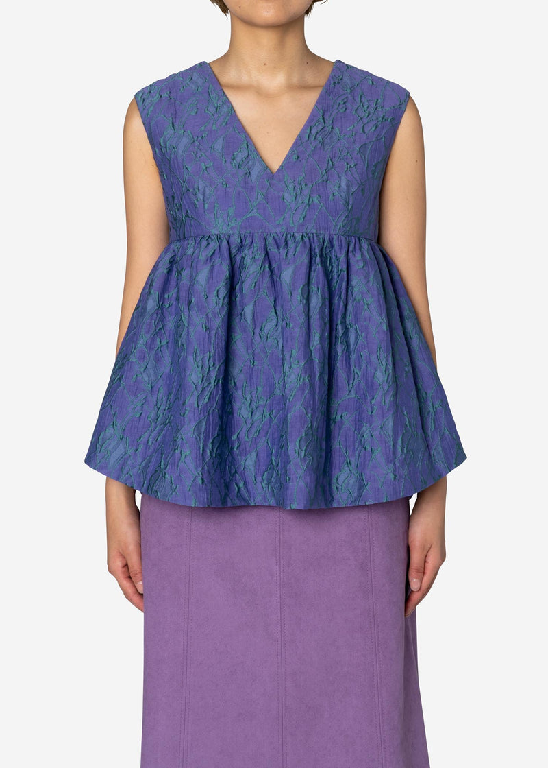 Splash Jacquard Sleeveless Blouse in Light Purple