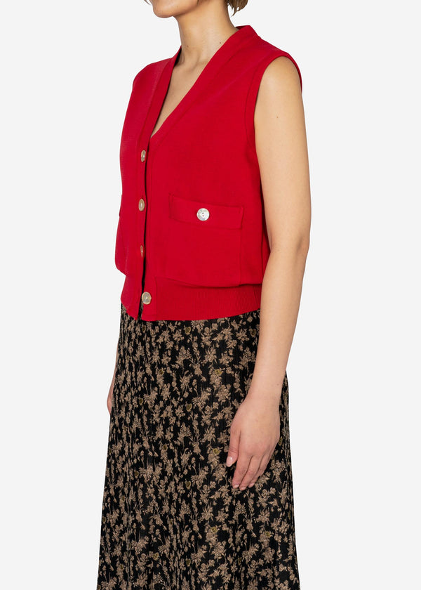 Harry Stretch Milano Rib Knit Vest in Red