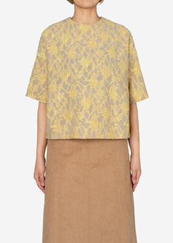 Splash Jacquard Half Sleeve Big Blouse in Beige