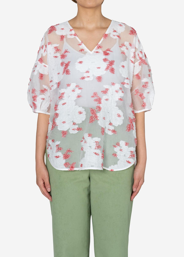 Peony Jacquard V-neck Big Blouse in White