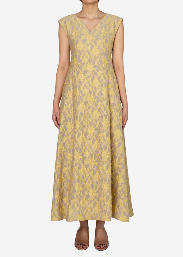 Splash Jacquard Sleeveless Dress in Beige