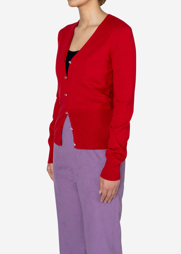 Dream Stretch Knit Cardigan in Red