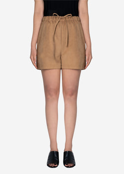 Soft Suede Short Pants in Beige