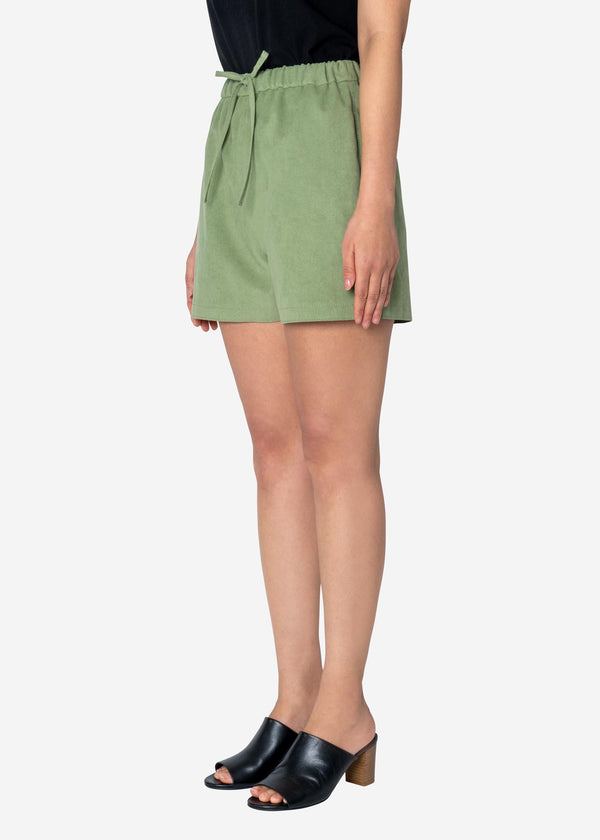 Soft Suede Short Pants in Light Green