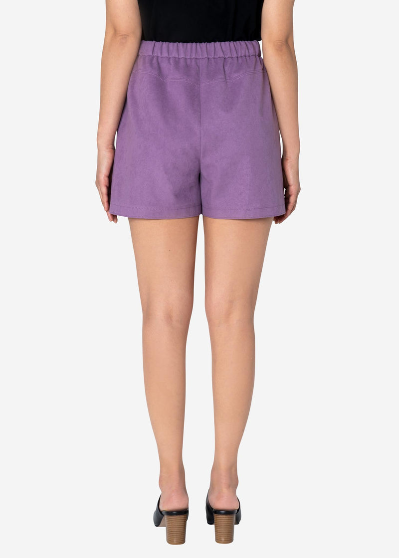 Soft Suede Short Pants in Light Purple