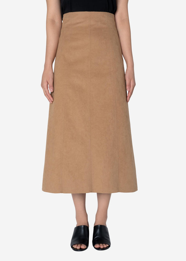 Soft Suede Skirt in Beige