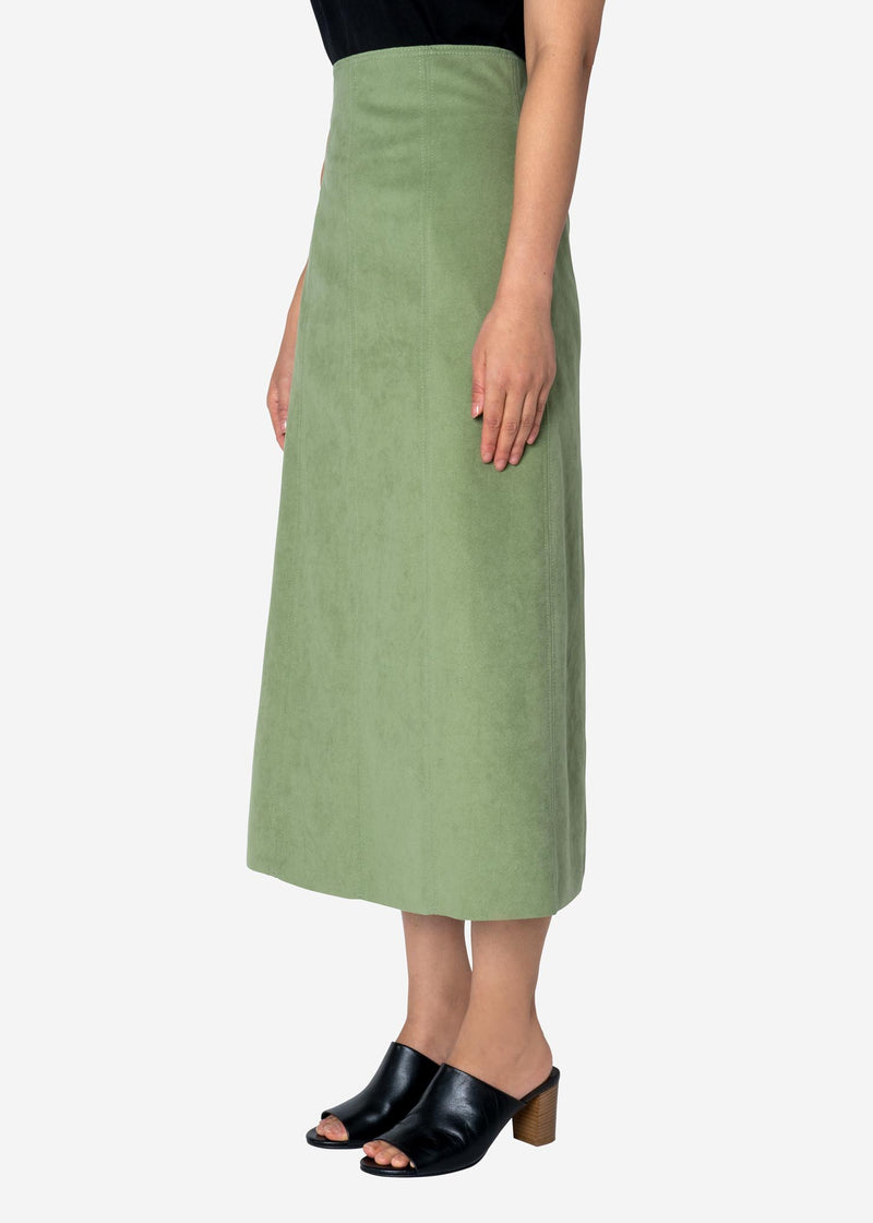 Soft Suede Skirt in Light Green