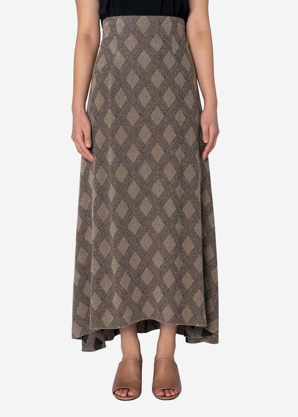 Argyle Check Jacquard Skirt in Other
