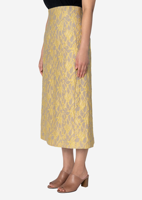 Splash Jacquard Skirt in Beige