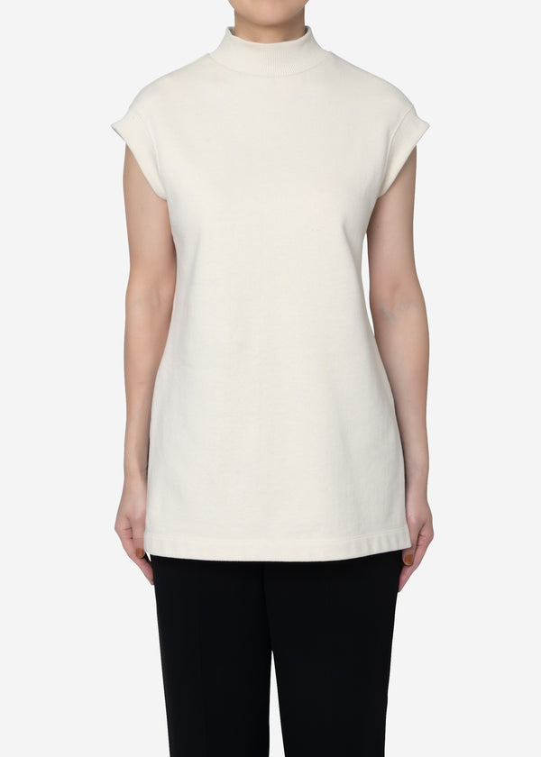 Soft Sweat Mock Neck Sleeveless Top in Ivory