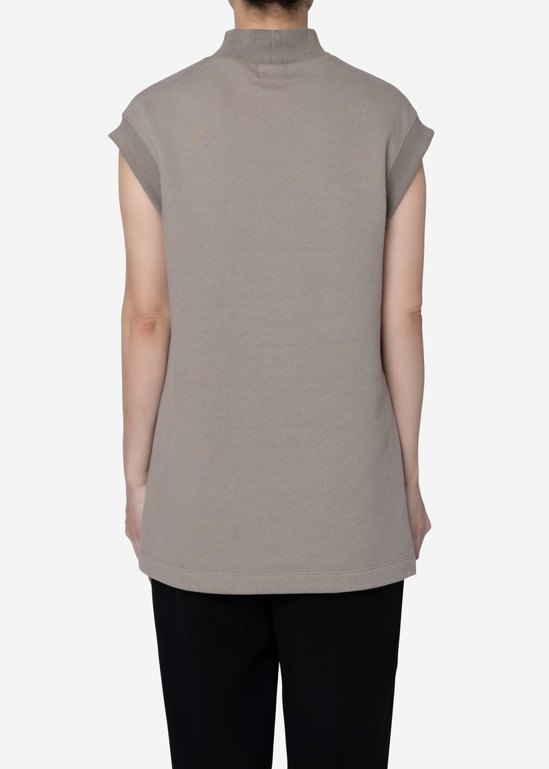 Soft Sweat Mock Neck Sleeveless Top in Gray