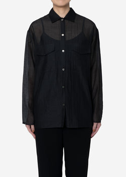 Sheer Striped Crepe Shirt in Black