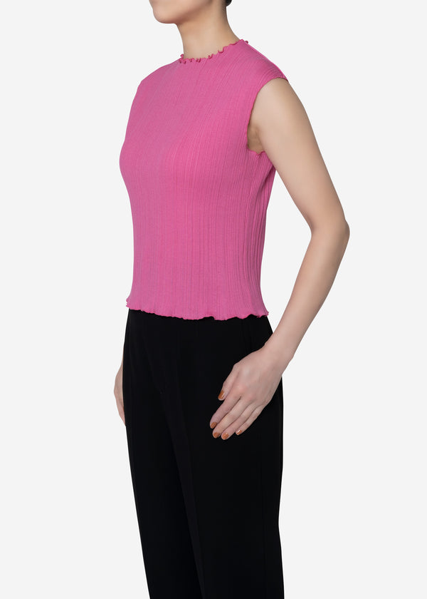 Irregular Rib Sleeveless Top in Pink