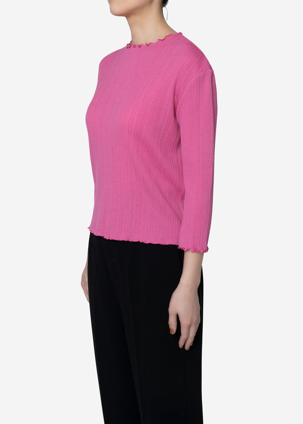 Irregular Rib Cropped Sleeve in Pink