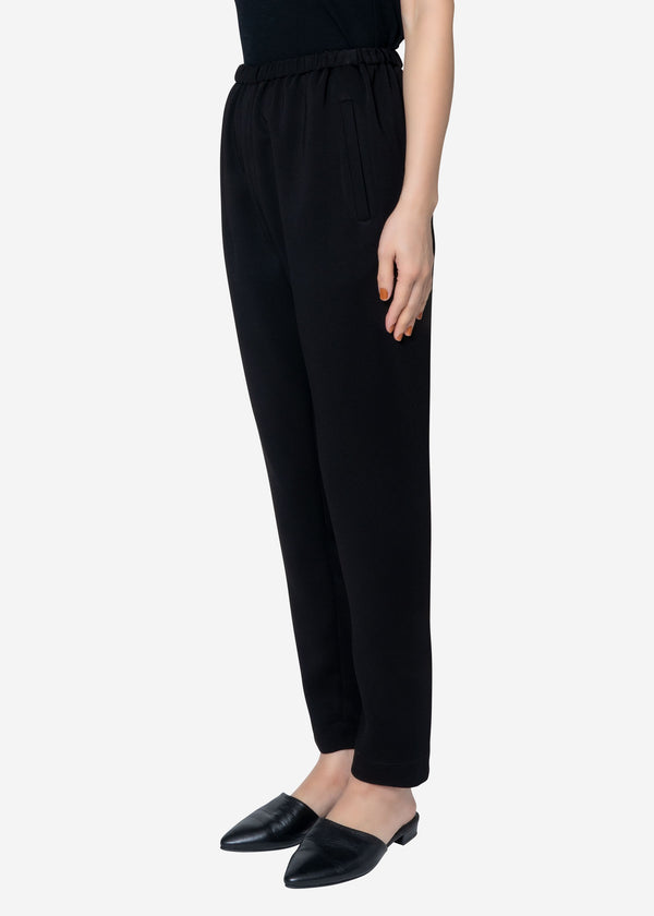 Stretch Double Cloth Pants in Black