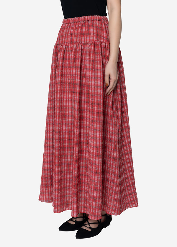 Tuck Check Gather Skirt in Red