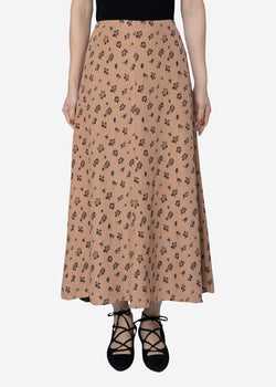 Summer Flower Jacquard Flare Skirt in Beige