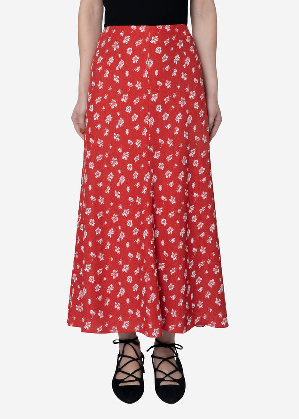 Summer Flower Jacquard Flare Skirt in Red