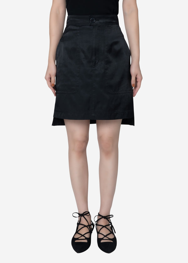 Military Satin Skirt in Black