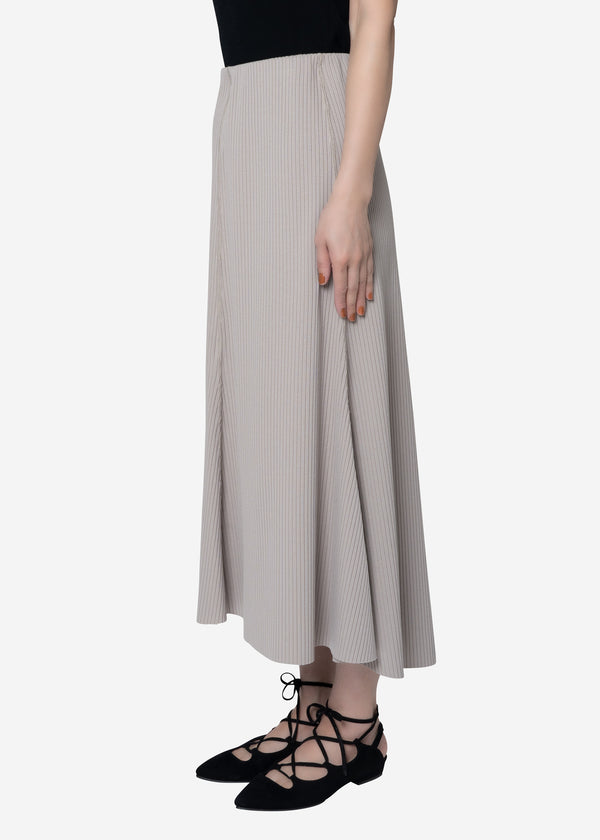 Summer Rib Flare Skirt in Beige