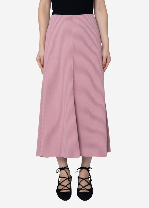 Summer Rib Flare Skirt in Pink
