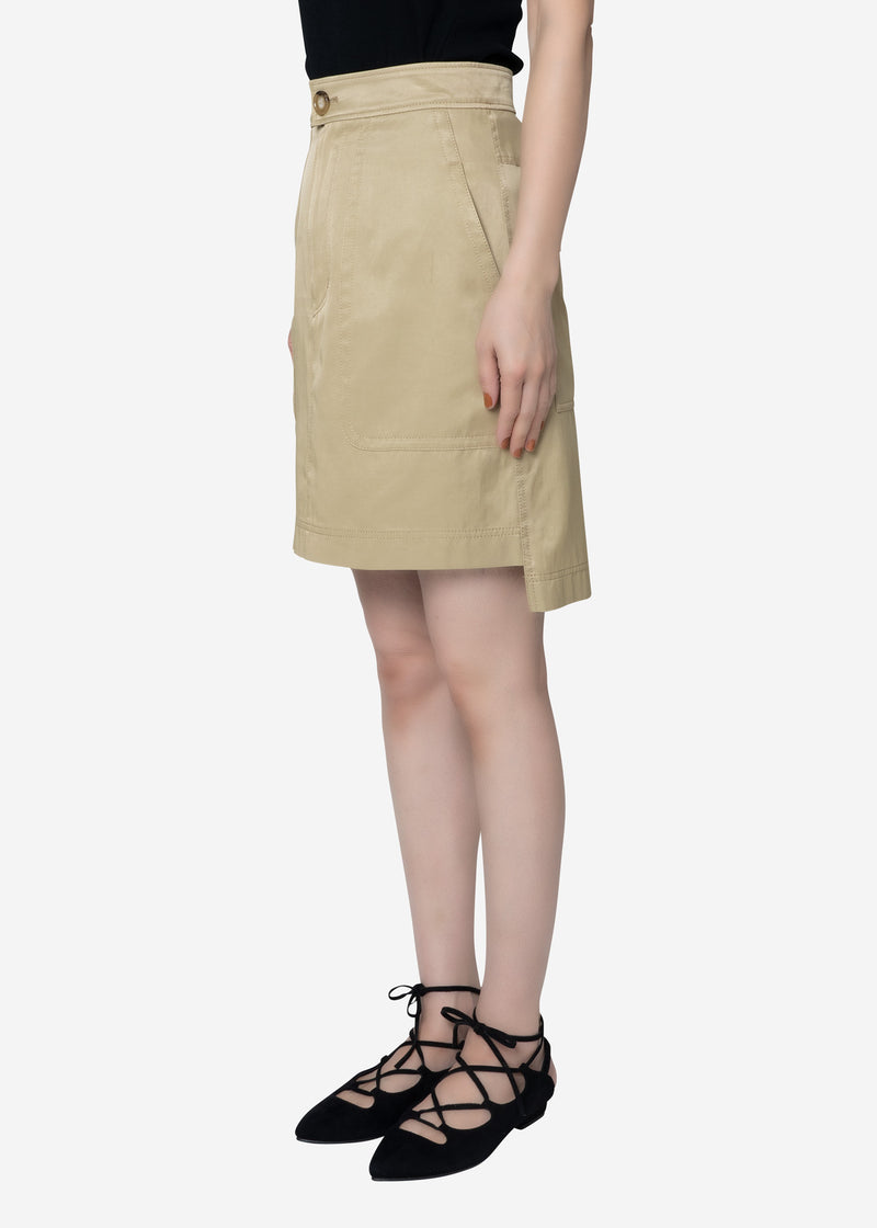 Military Satin Skirt in Beige