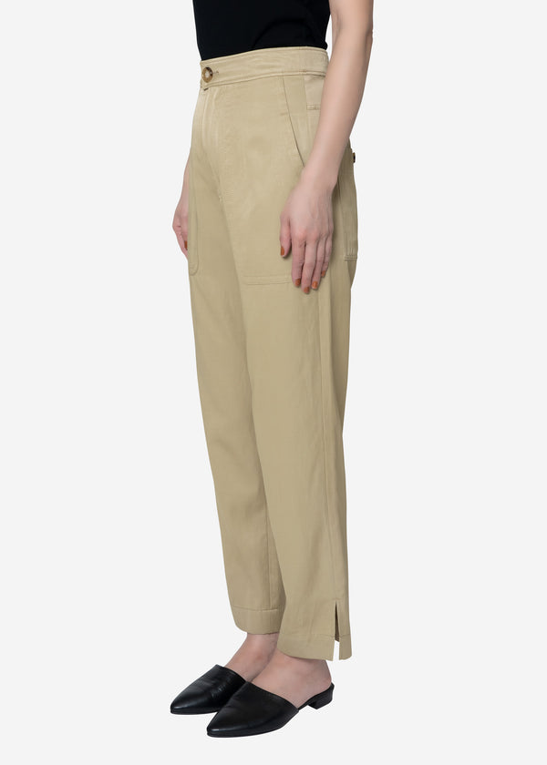 Military Satin Cropped Pants in Beige