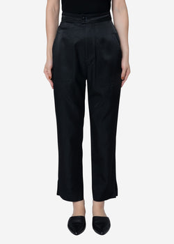 Military Satin Cropped Pants in Black