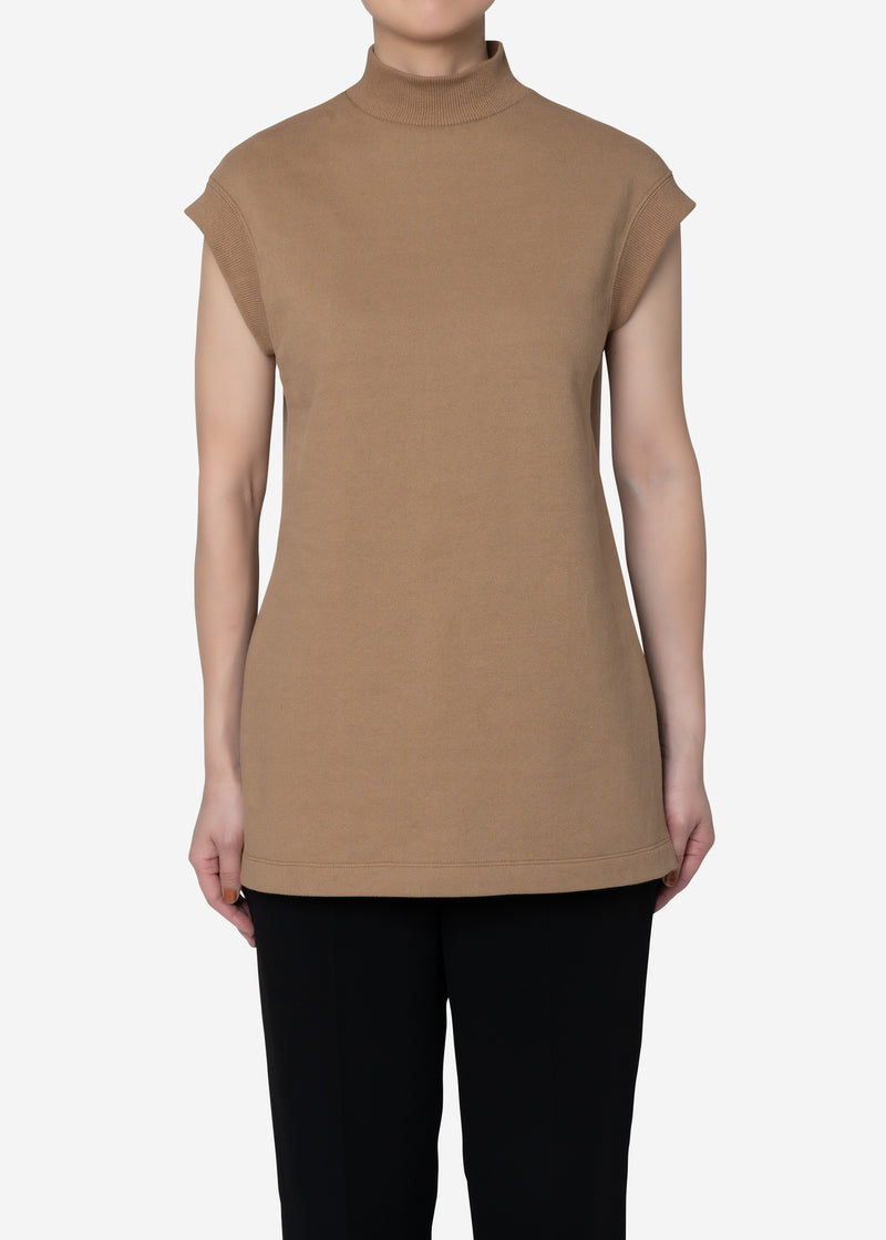Soft Sweat Mock Neck Sleeveless Top in Camel