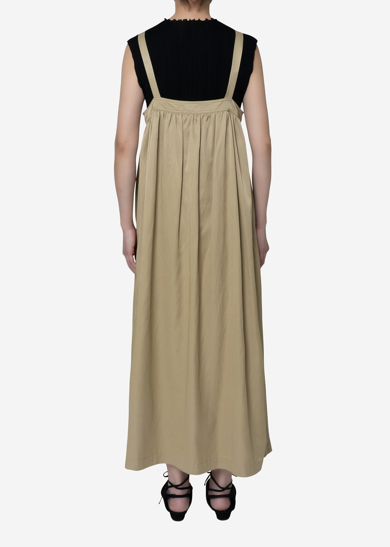 Military Satin Dress in Beige