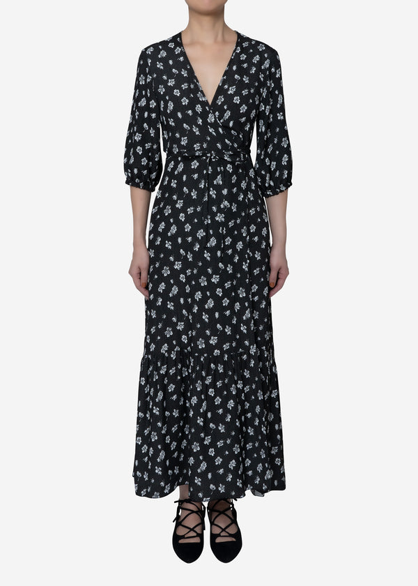 Summer Flower Jacquard Wrap Dress in Black
