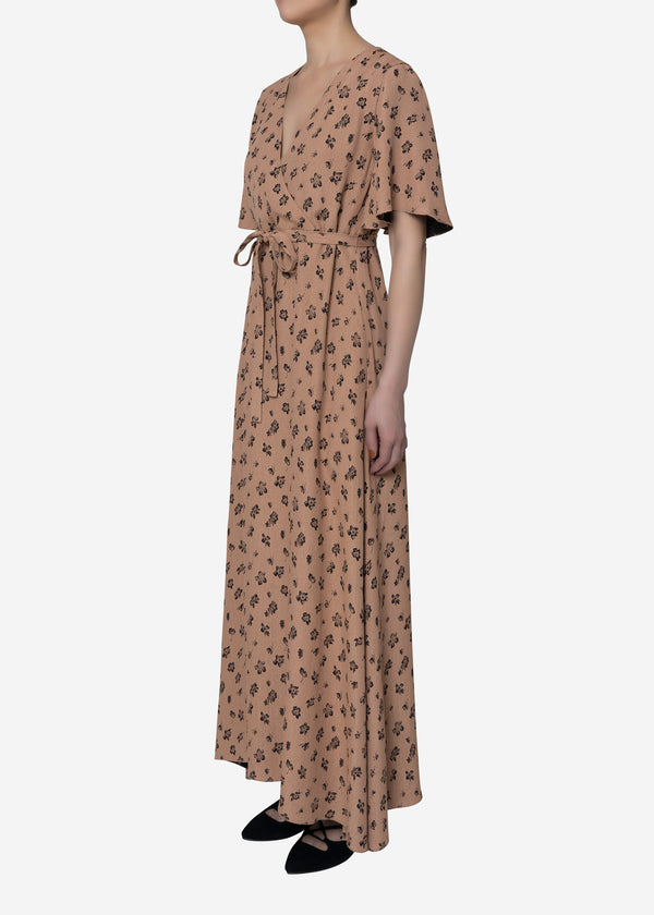 Summer Flower Jacquard Long Dress in Beige