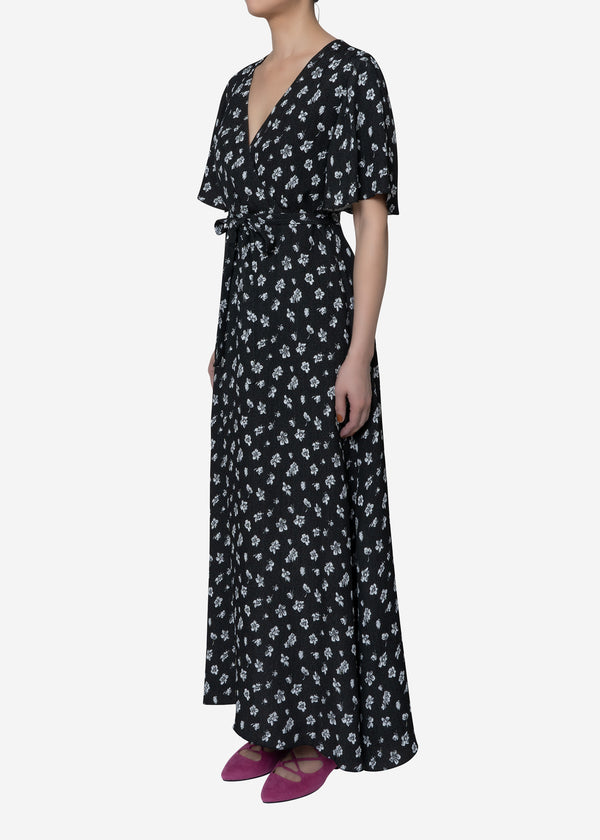 Summer Flower Jacquard Long Dress in Black