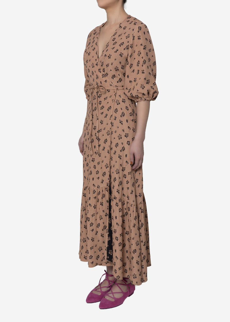 Summer Flower Jacquard Wrap Dress in Beige