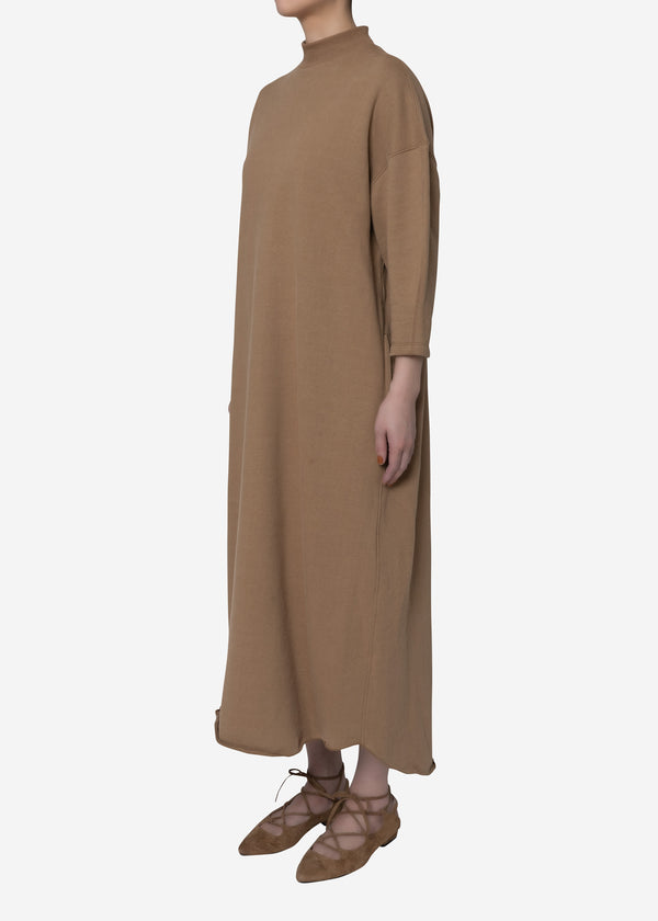 Soft Sweat Mock Neck Dress in Camel
