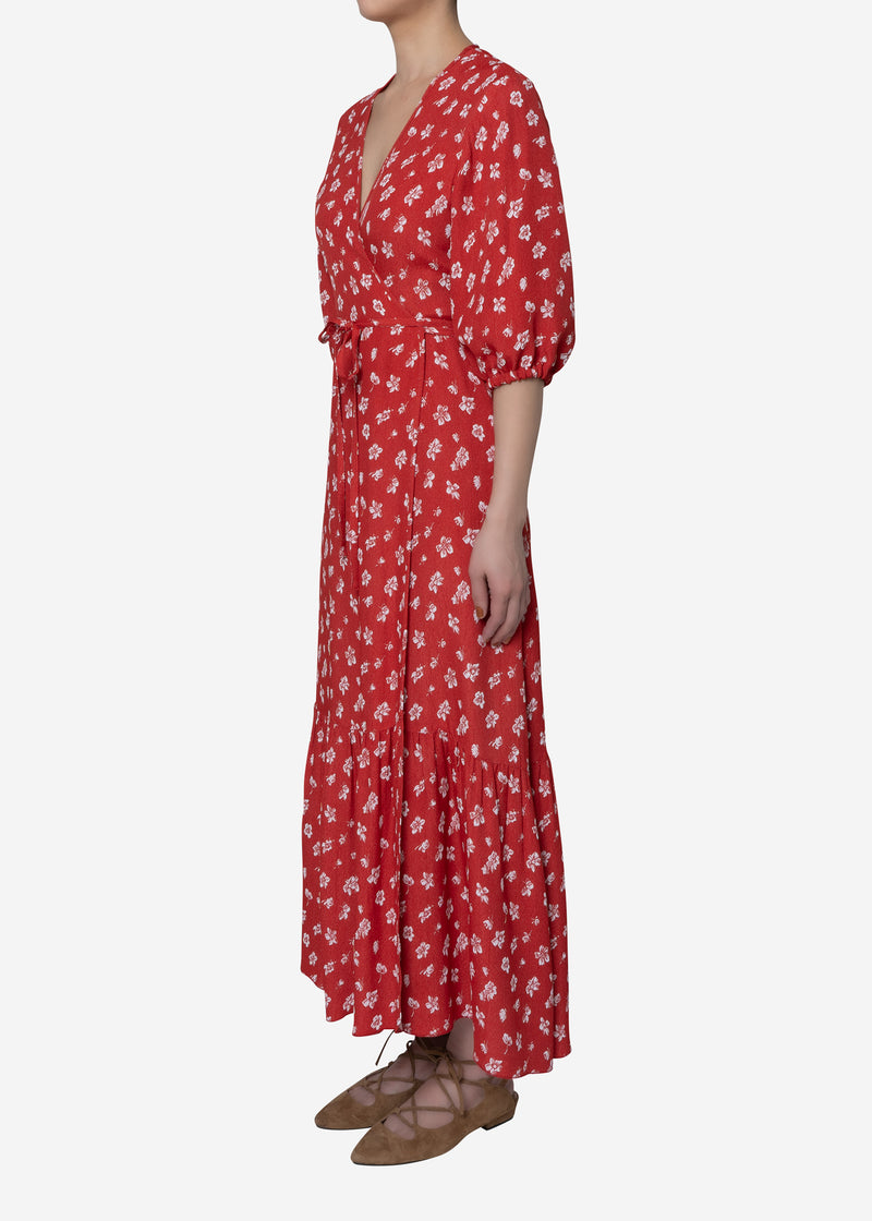 Summer Flower Jacquard Wrap Dress in Red