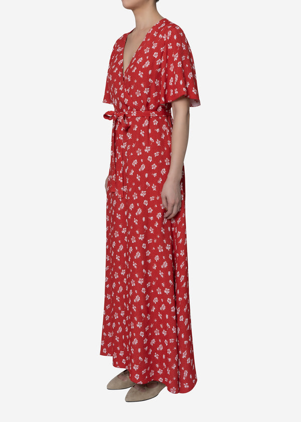 Summer Flower Jacquard Long Dress in Red