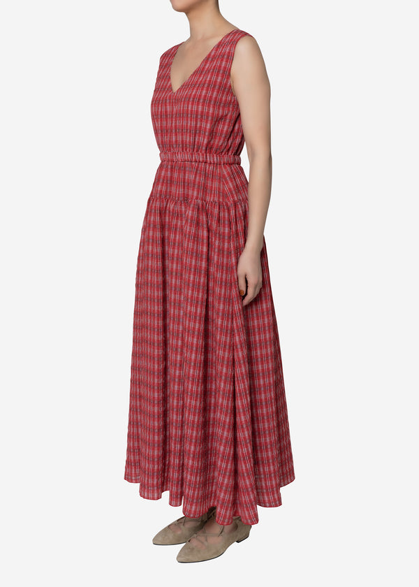 Tuck Check Gather Dress in Red