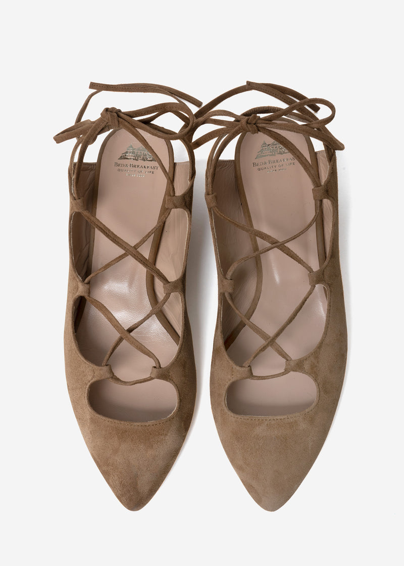 Lace Up Sandals in Brown