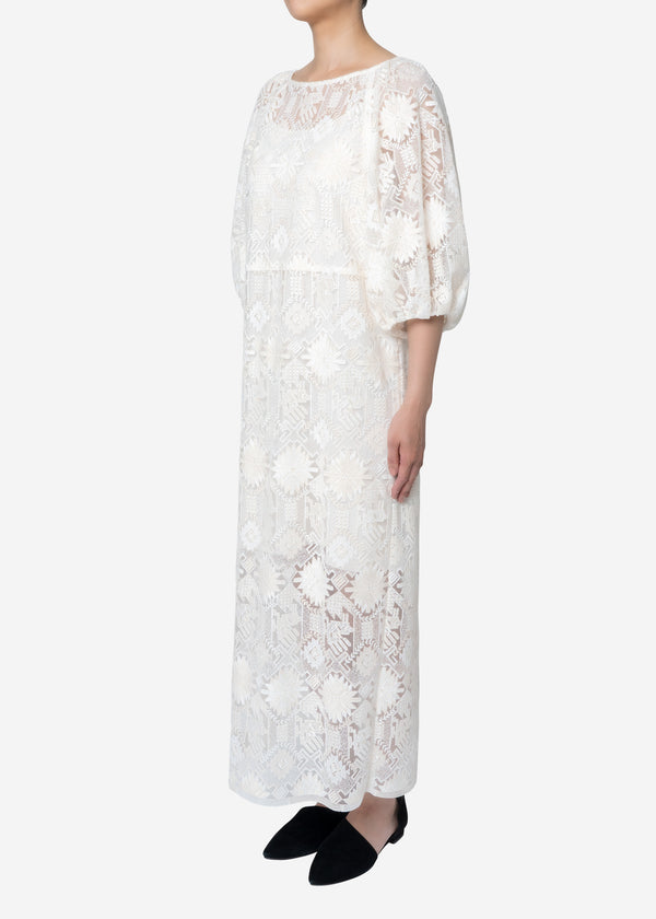 Native Embroidery Dress in Off White