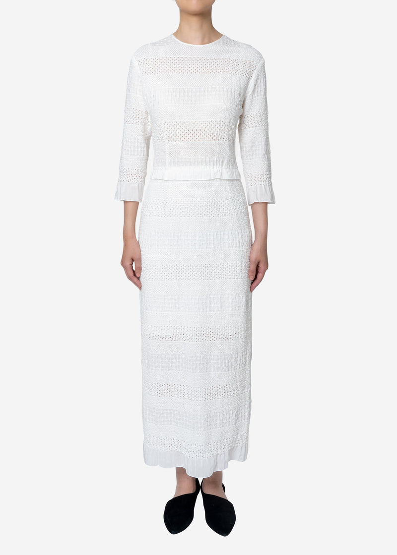 Shirring Embroidery Dress in White