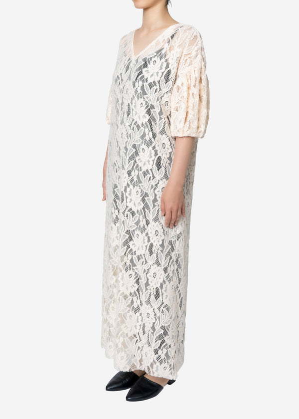 Floral Stretch Lace Dress in Ivory